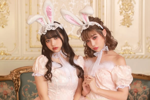 Two girls in bunny cosplay
