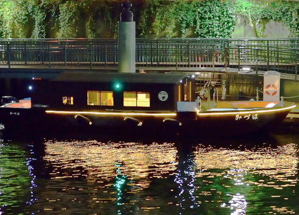 Casual night cruise from the Nihombashi landing close to the station.